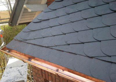 Erker Rinnen/ Dacheindeckung mit Schablonendeckung mit Gradausrichtung
