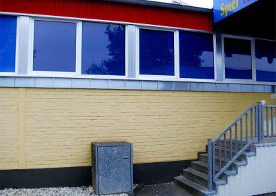 Fassadenbekleidung Zinkblech, Stehfalztechnik, Treppenabdeckung